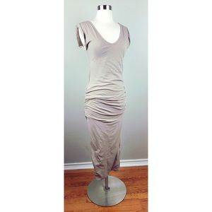 James Perse Beige Tan Ruched Gathered Maxi Dress